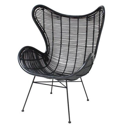 HKliving Egg chair Rotan Zwart