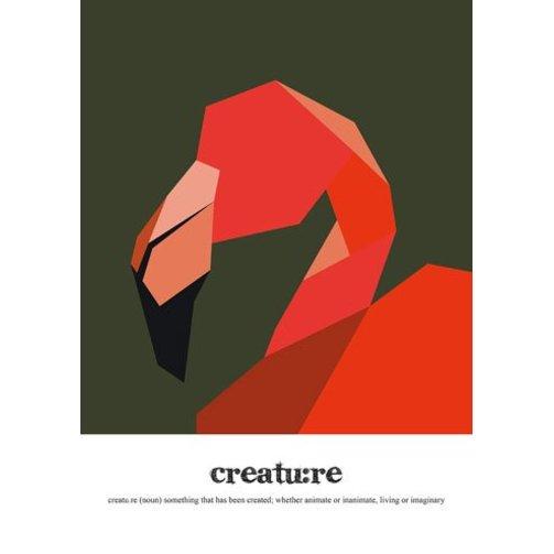 Read Between Lines Poster A4 Flamingo