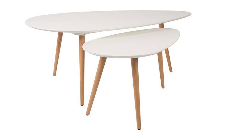 Set van 2 bijzettafels  Wit met houten poten  Ook als salontafel te gebruiken    De Tafel Van 10