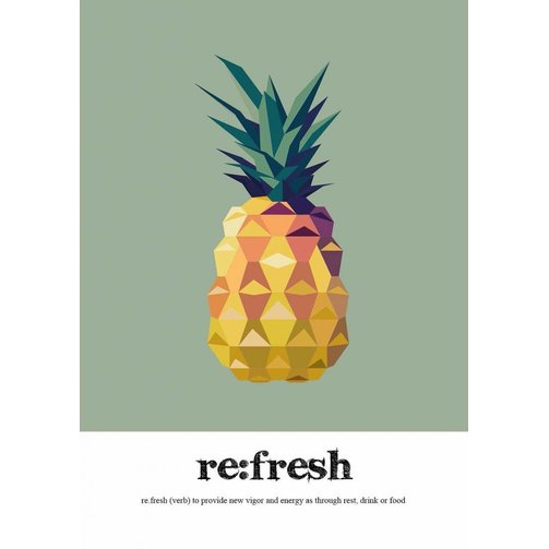 Read Between Lines Poster A2 Pineapple