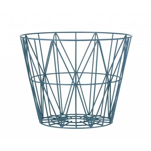ferm LIVING IJzeren mand Wire basket Blauw L