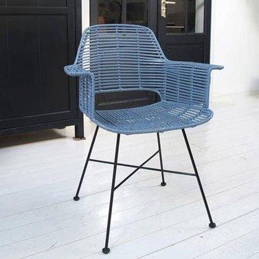 Rotan stoel oud blauw