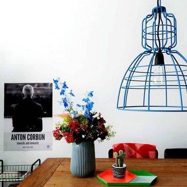 Wire lamp blauw