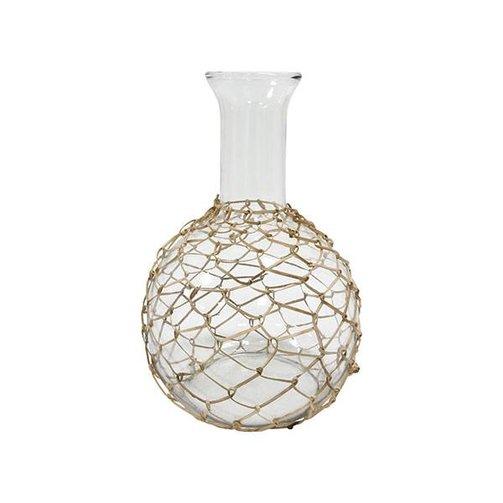 HKliving Glazen vaas met vlechtwerk