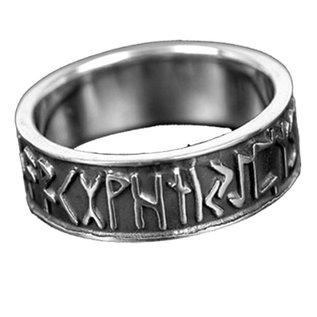 Runen Runenring , Sterlingsilber, mit den 24 Runen des älteren Futhark