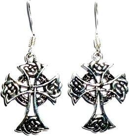 Keltische Ohrringe silber, Ohrhänger mit Kreuz