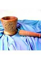 Räuchern Holz-Mörser mit Pentagramm