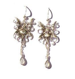 Elfen Ohrringe Elfe mit Mondstein, 925-Silber