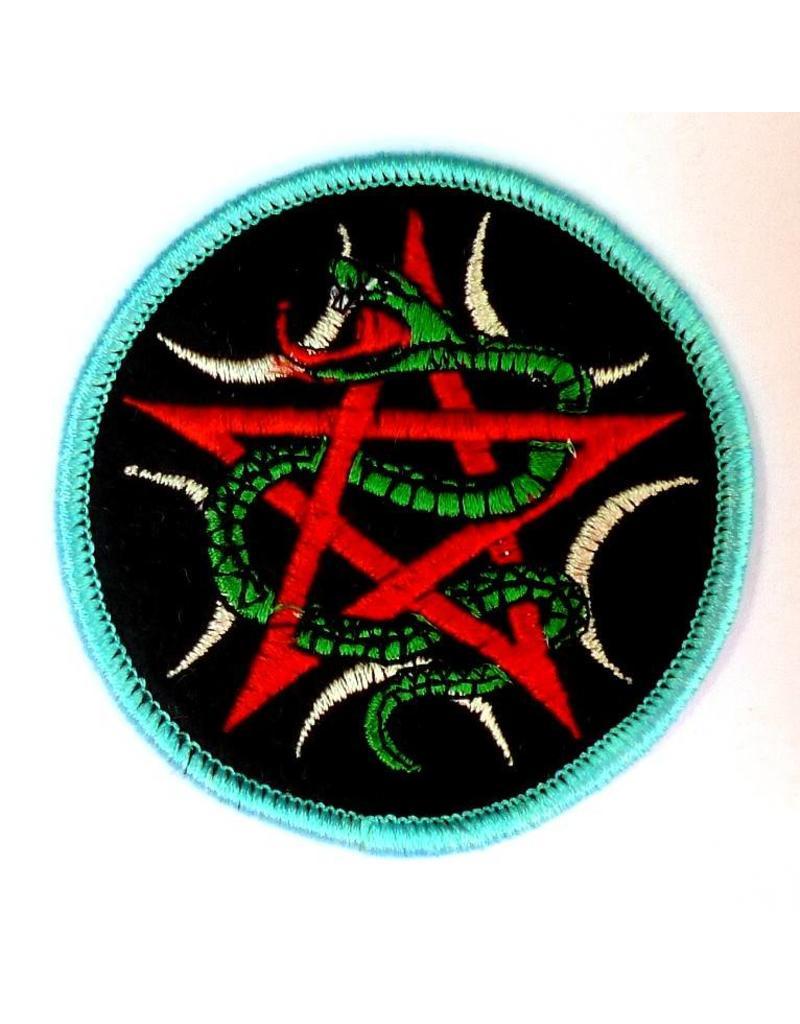 Pentagramme Aufnäher (Patch) mit Pentagramm und Schlange