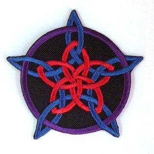 Textilien Aufnäher (Patch) mit Rosenpentagramm