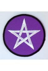 Textilien Aufnäher (Patch) mit Pentagramm violett/weiß