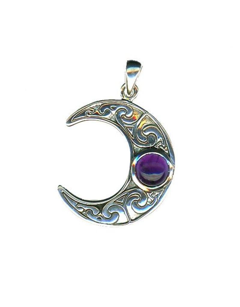 Mond Anhänger: Halbmond mit Amethyst, 925-Silber