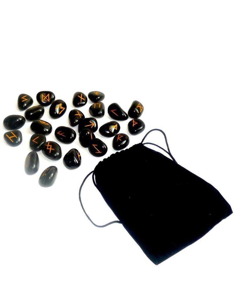 Edelstein Runenset aus Onyx