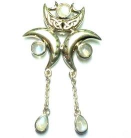 Mond Anhänger Dreifacher Mond, 925-Silber
