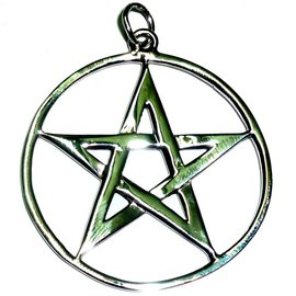 Pentagramme Pentagramm Anhänger Amulett Silber, 36 mm