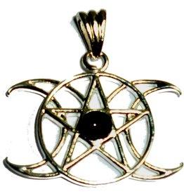 Mond Pentagramm Anhänger Dreifacher Mond, Zinn