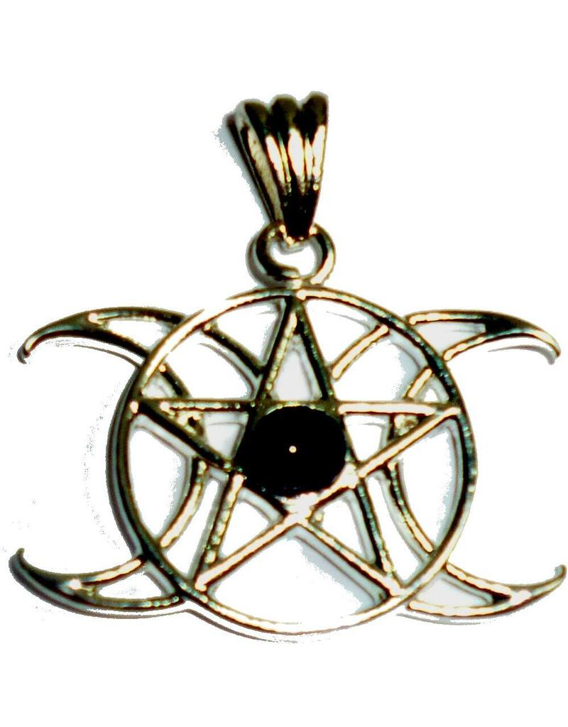 Mond Anhänger Pentagramm Dreifacher Mond mit Stein