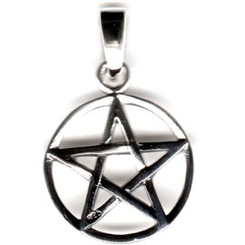 Pentagramm Amulett Anhänger Silber, 15 mm