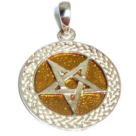 Pentagramme Anhänger Pentagramm Bronze, versilbert