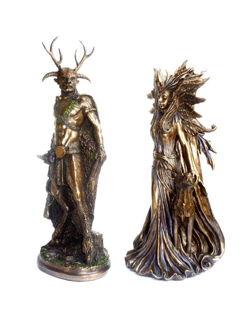 Göttin Hexengöttin aus Polyresin, bronziert