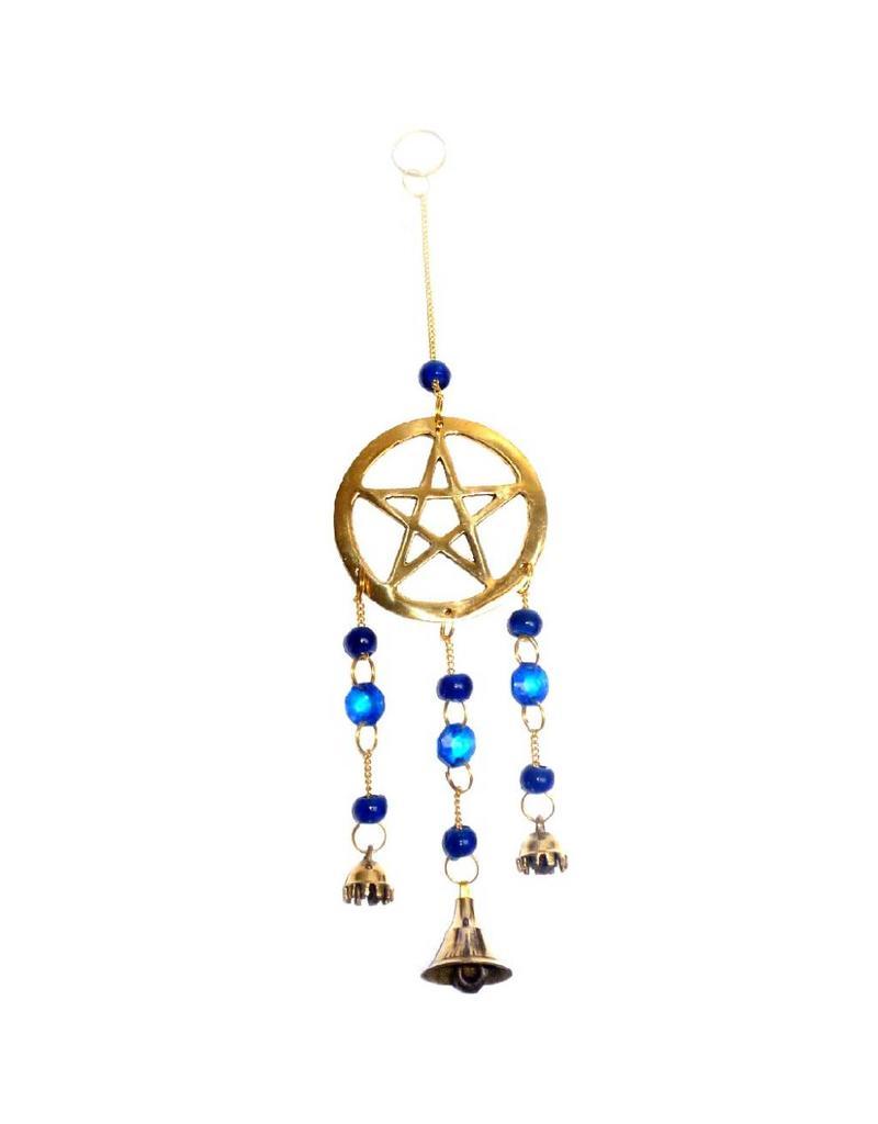 Windspiel Pentagramm aus Messing