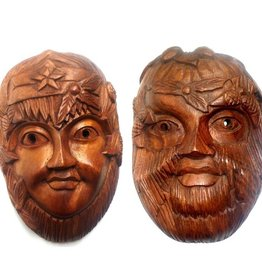 Green Lady & Green Man Wandrelief Holz ab
