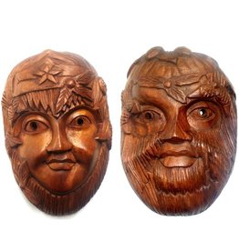 Green Lady & Green Man Wandrelief Holz ab