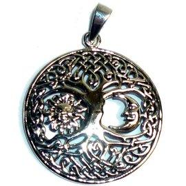 Yggdrasil mit Sonne & Mond, 925 Silber