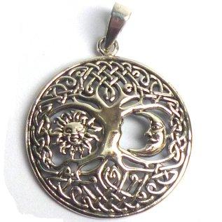 Anhänger Yggdrasil mit Sonne & Mond, 925 Sterling Silber
