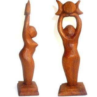 Holzfigur Göttinnen Statue, handgeschnitzt