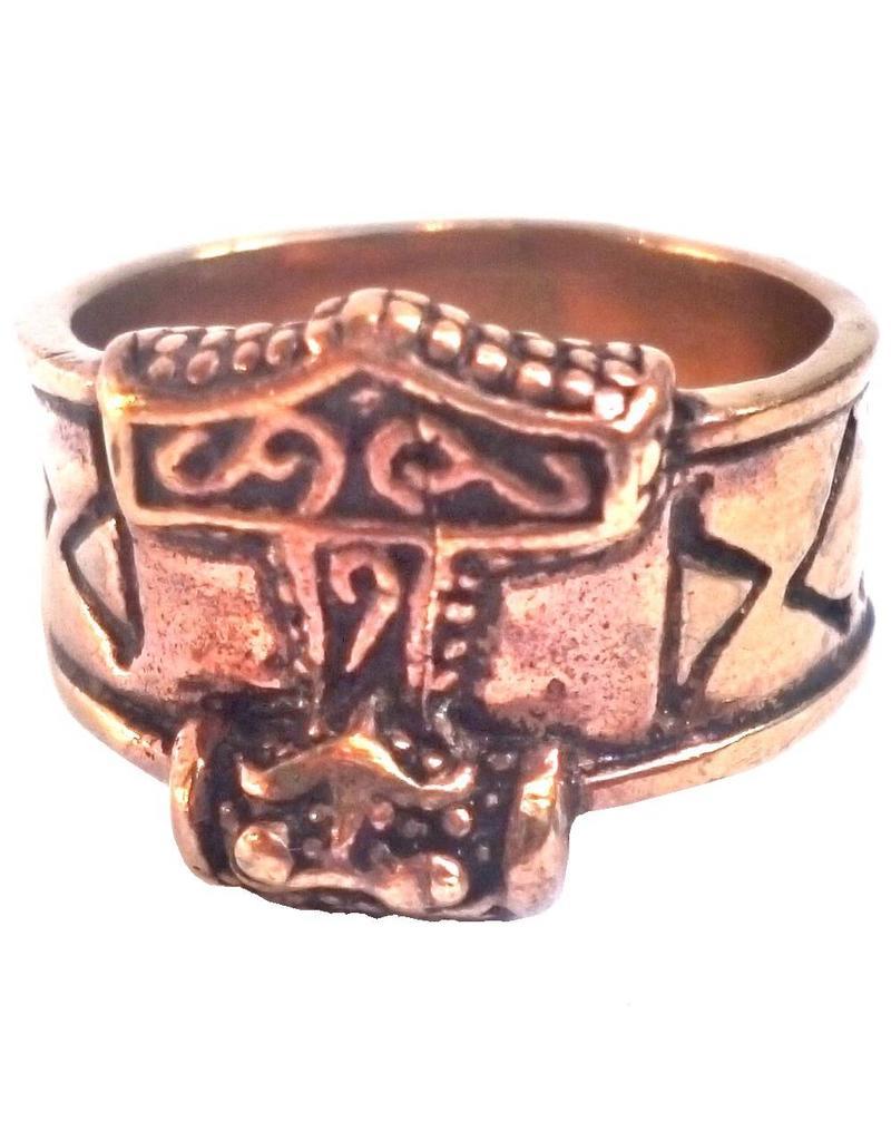 Bronze Thor Hammer Ring mit Runen