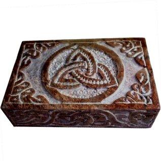 Speckstein Dose mit Pentagramm oder Triquetra