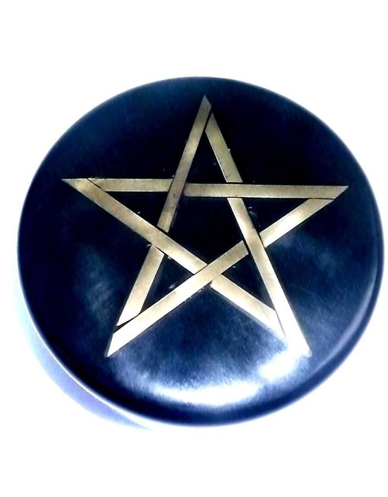 Altarkästchen, Speckstein Dose rund, schwarz mit Pentagramm