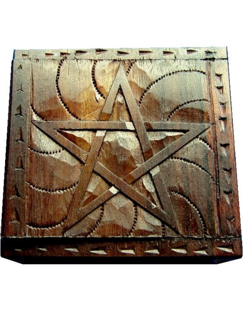 Aufbewahrung Holzkästchen Pentagramm