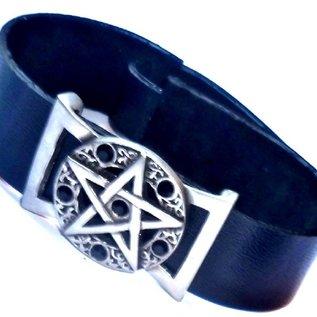 Lederarmband  Pentagramm mit Steinchen