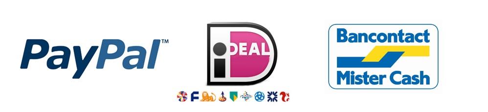 Afbeeldingsresultaat voor logo's betaalmethoden paypal ideal bancontact