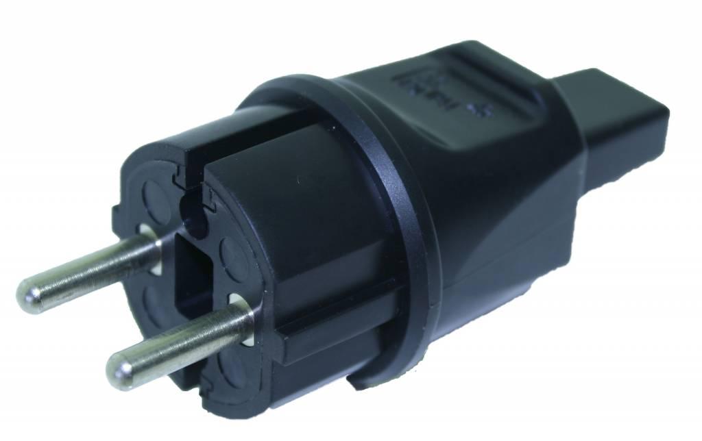 stekker prikkabel zwart 230 volt stekker rubber prik. Black Bedroom Furniture Sets. Home Design Ideas