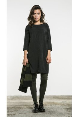 By-Bar Zoa Tencel Dress - Off Black