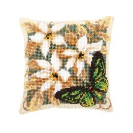 Vervaco Kussen met groene vlinder