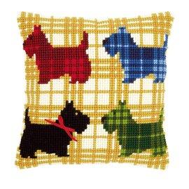 Vervaco Kruisstekenkussen kleurige hondjes met strikje