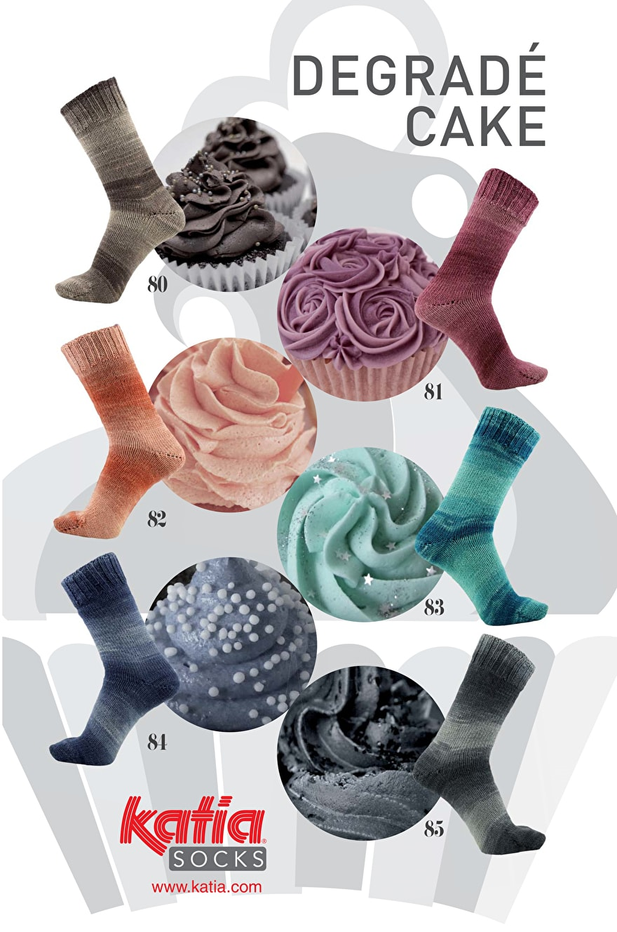 Katia Degradé Cake Socks is een sokkenwol in een cake bol.