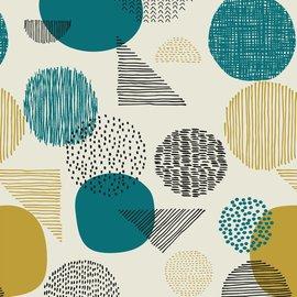 Katia Fabrics Gold Geometric Aqua Canvas