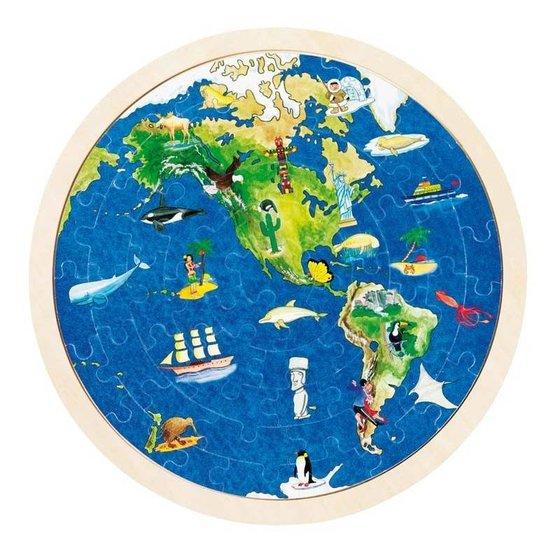 Houten wereldpuzzel