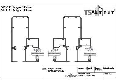 Überdachung - Träger 115 Serie Veranda