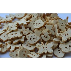 100 Stück Holzknöpfe 5 Motive Schmetterlinge Bären Schnecken Käfer Katzenköpfe.