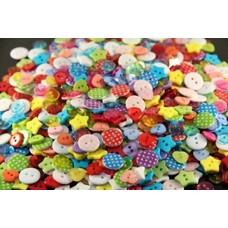 100 Stück Kinderknöpfe  Herzen Sterne rund 2-farbig gepunktet rund klein durchsichtig