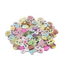 100 Stück Holzknöpfe 4 verschiedene Motive Eulen Elefanten Herzen rund mit cupcake (HK30)