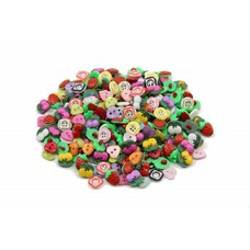 100 Stück Kinderknöpfe rund in 4-eck Optik Kirschen Erdbeeren Herzen