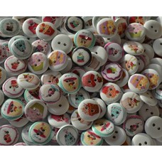 100 Stück Holzknöpfe Cupcake  15,4 mm viele verschiedene Motive