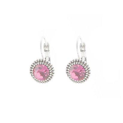 BIBA OORBELLEN Biba 8379-Rose. Silber Ohrringe mit Rose farbigen Swarovski Kristall.